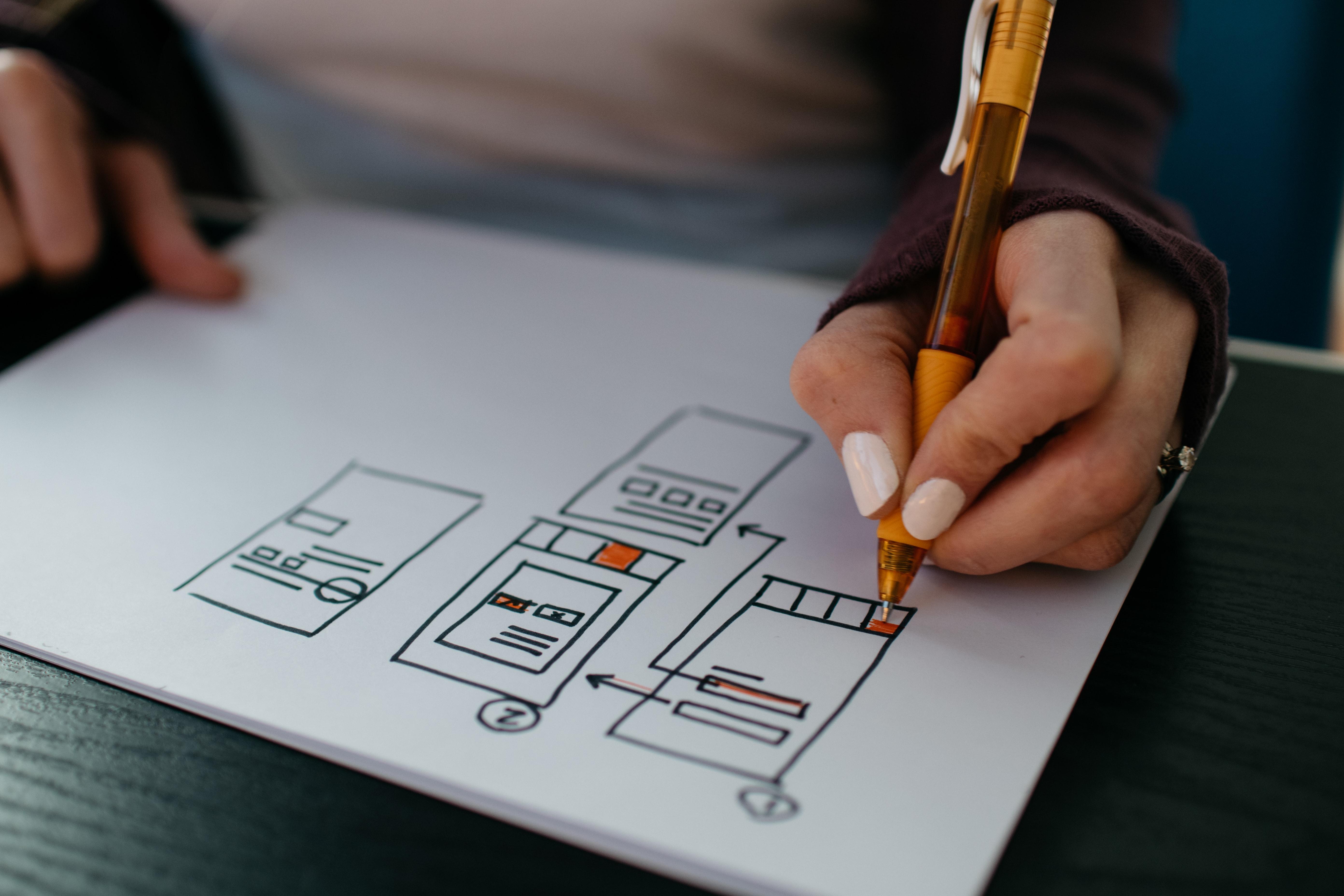 Designer drawing a website wireframe