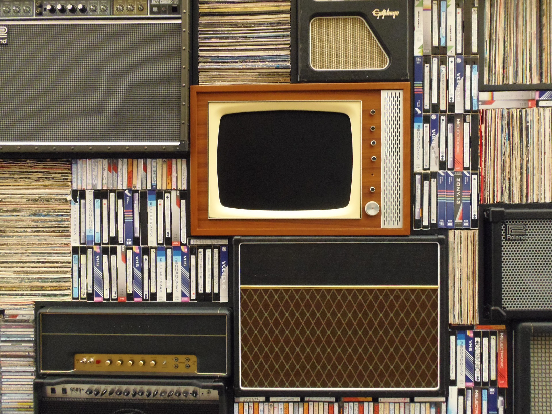 Old tv, cassette tapes and records